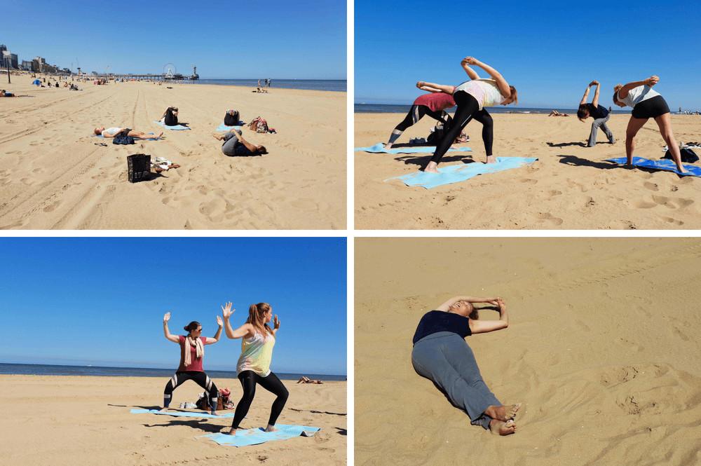 Yoga aan zee in Den Haag