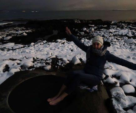 Warmwaterbron in Reykjavik, het Kvika footbath