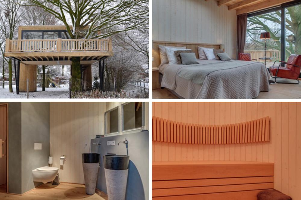 Boomhut met sauna in Brabant