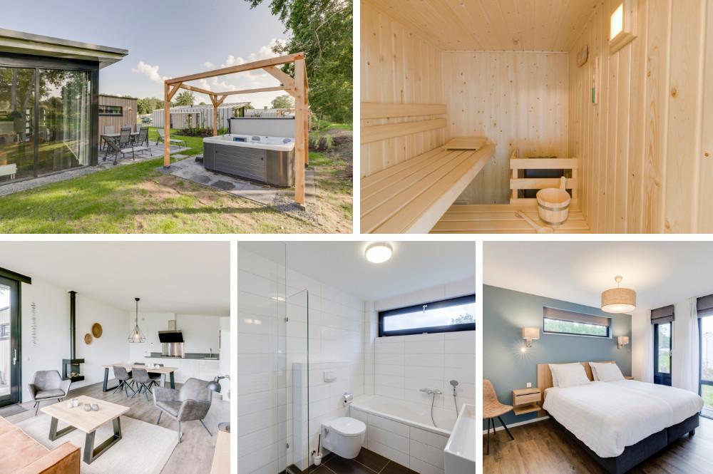 Vakantiehuisje met sauna en Jacuzzi buiten