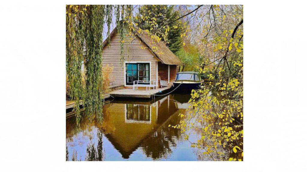 Luxe Boathouse met sauna in Leiden