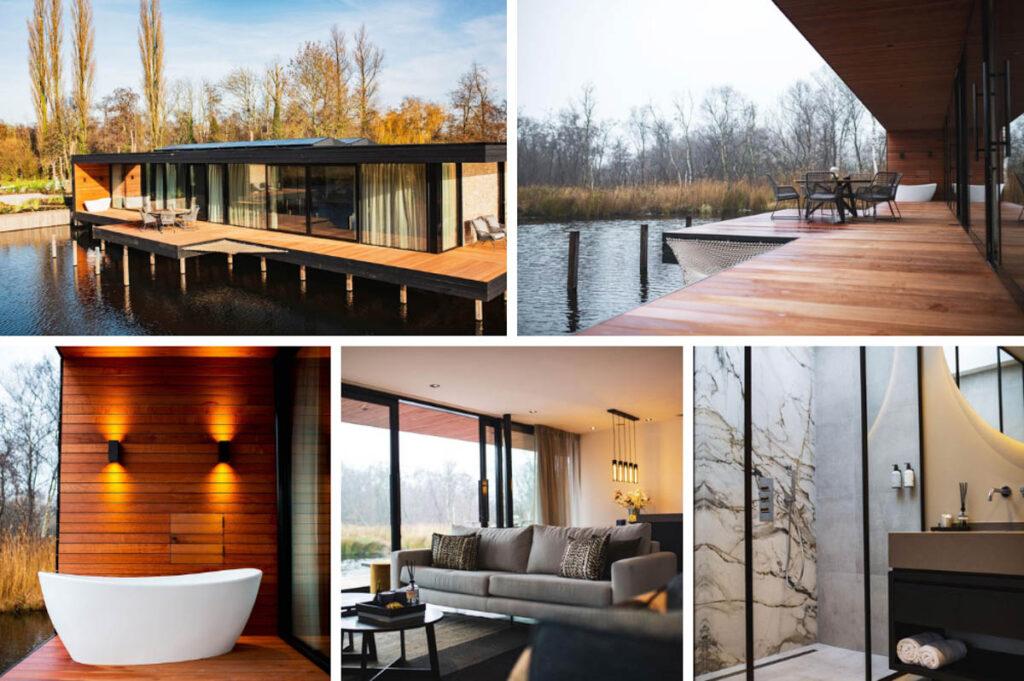 Bad met uitzicht watervilla in natuur - Haven Lake Village