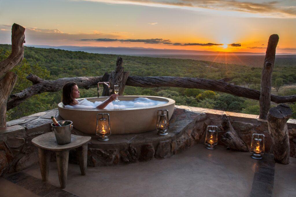 Bad met uitzicht in Zuid-Afrika