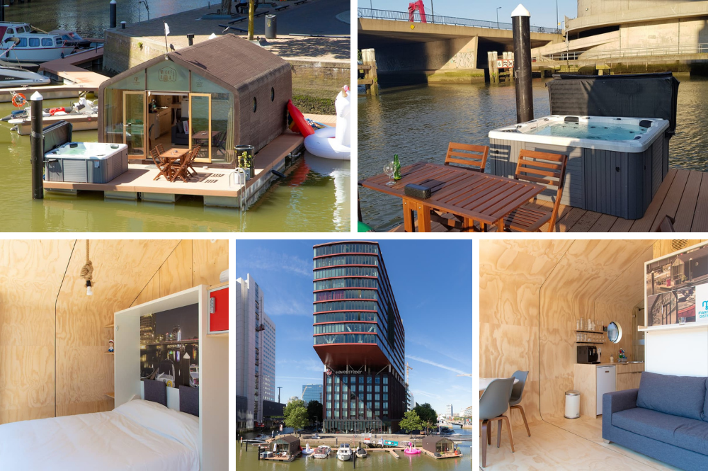 Bubbelbad met uitzicht op Wijnhaven in Rotterdam centrum