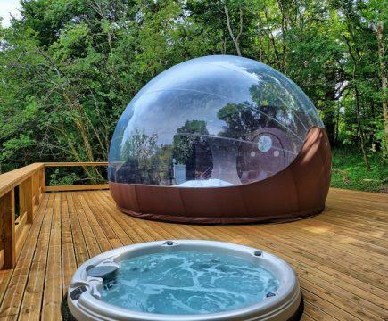 Slapen in bubbel met bubbelbad in Frankrijk