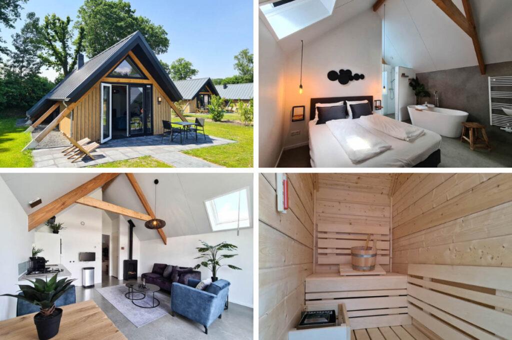 Wellness Lodge voor 2 personen met ligbad, sauna en Sunshower